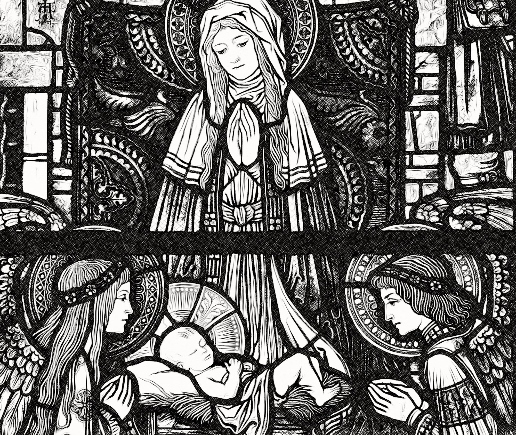 Nativity-With-An-Angel-Catholic-Coloring-Page-from-Sdcason-dot-Com-2