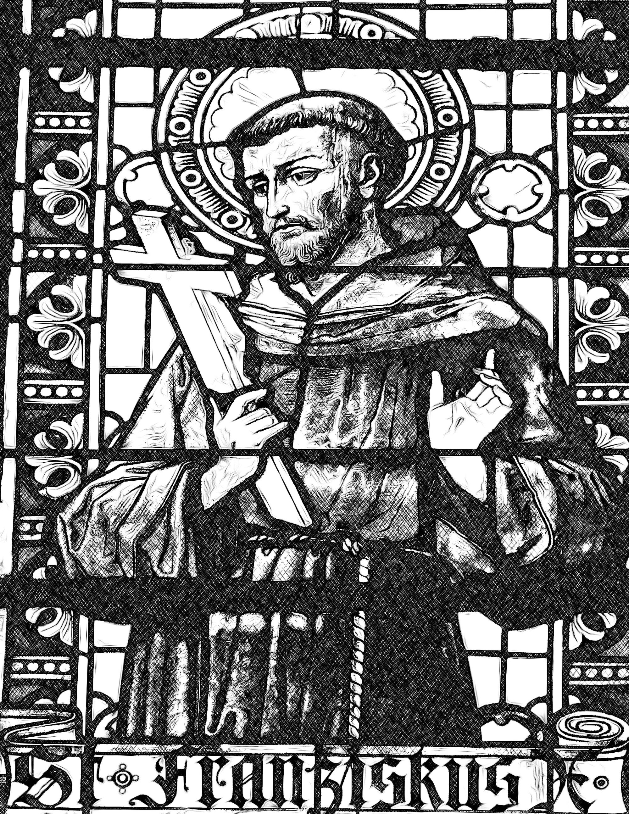 Saint-Francis-with-Crucifix-Catholic-Coloring-Page-from-sdcason-dot-com-x