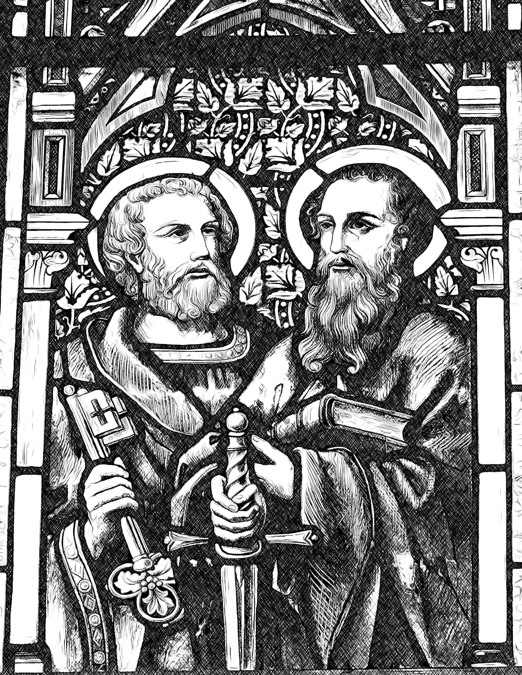 Saints-Peter-and-Paul---Catholic-Coloring-Page-from-sdcason-dot-com-x