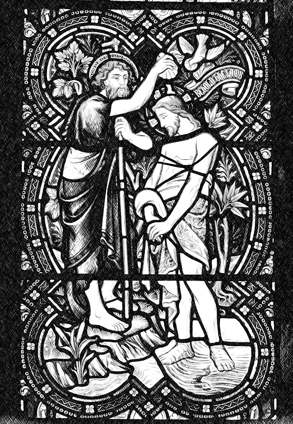 Baptism of Jesus - Catholic Coloring Page