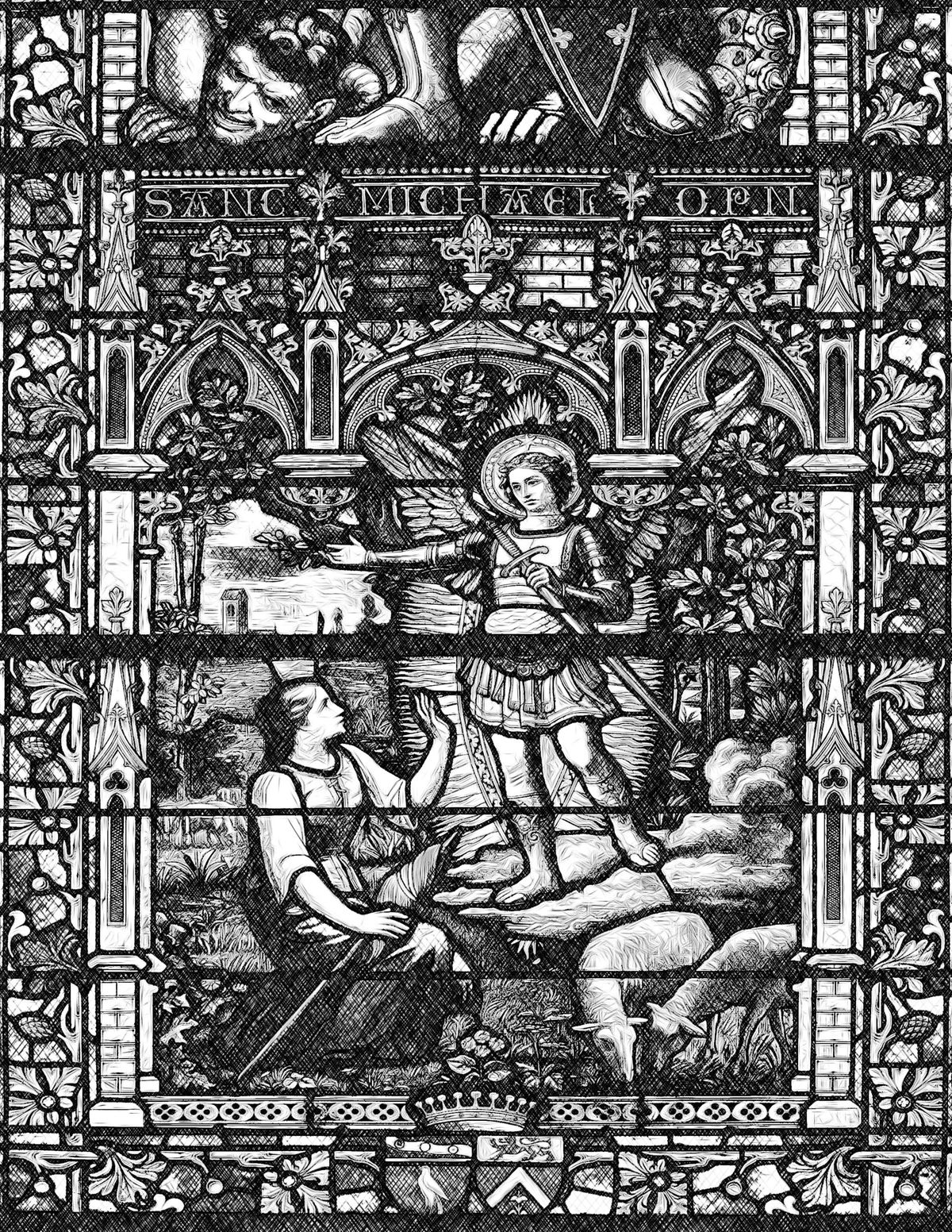 Saint Michael and Joan of Arc - Catholic Coloring Page