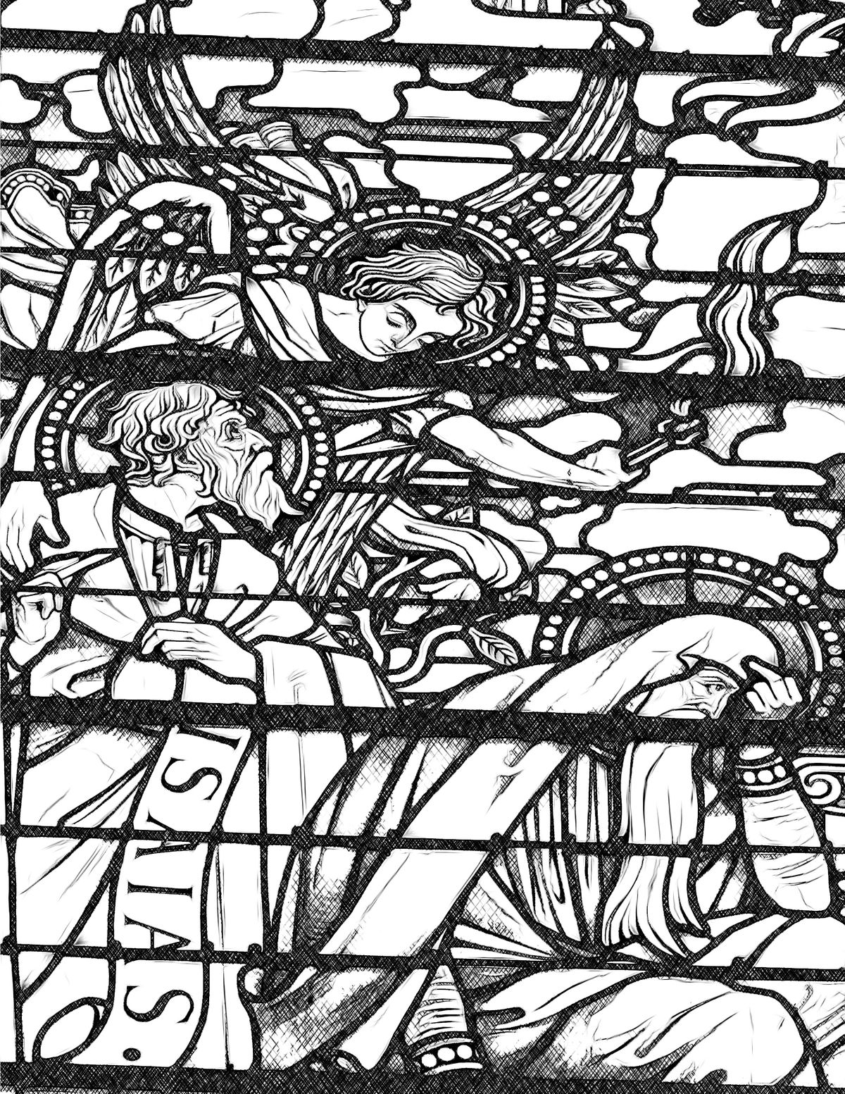 Isaiah and the Angel - Catholic Coloring Page