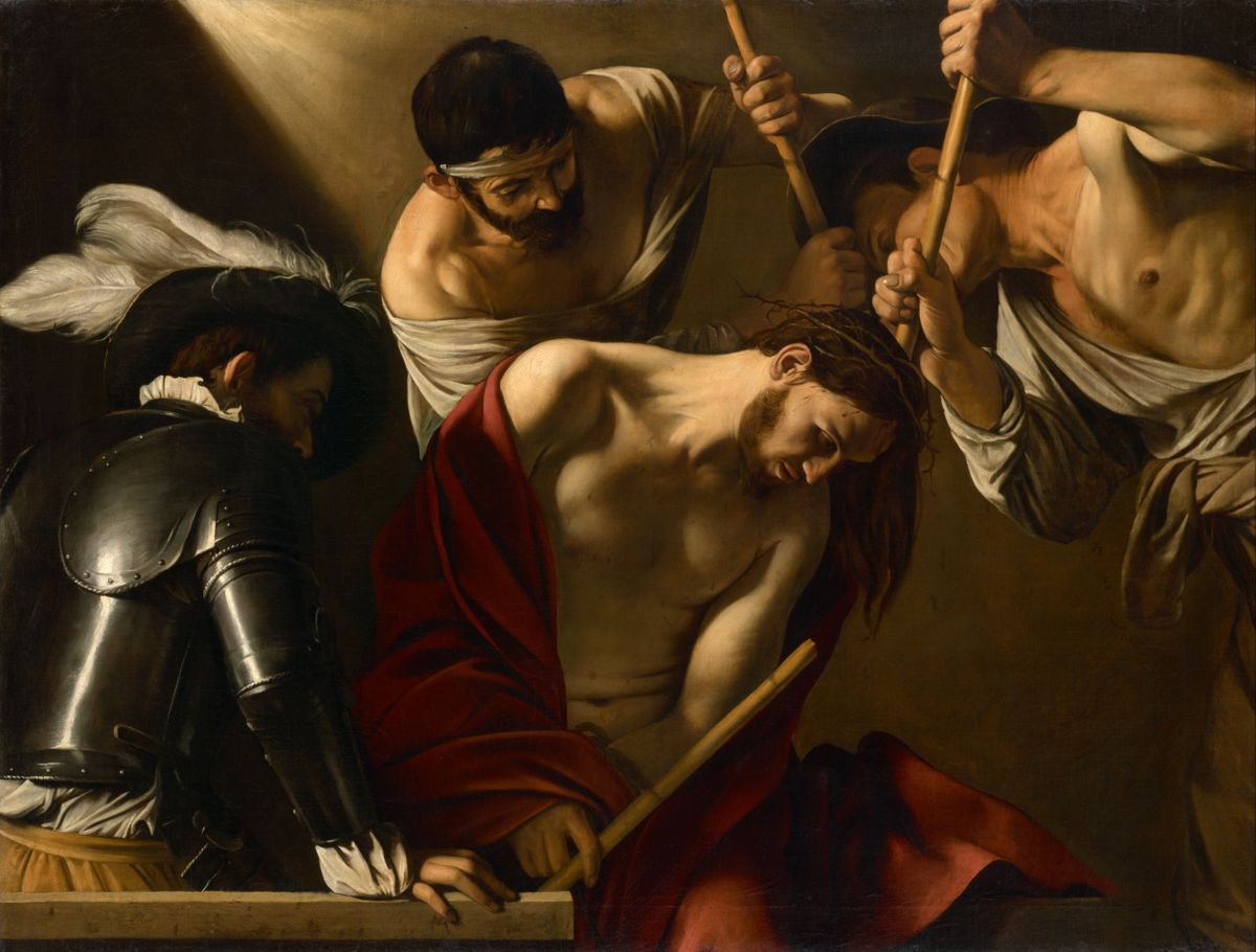 Caravaggio's Crowning of Thorns - Public Domain Catholic Painting