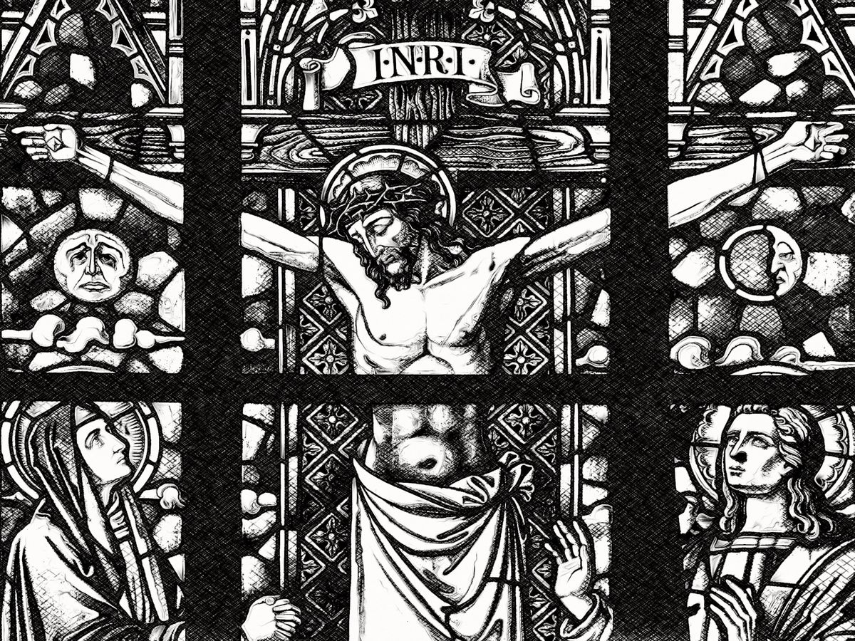 The Crucifixion with the Virgin Mary and St. John - Catholic Coloring Page