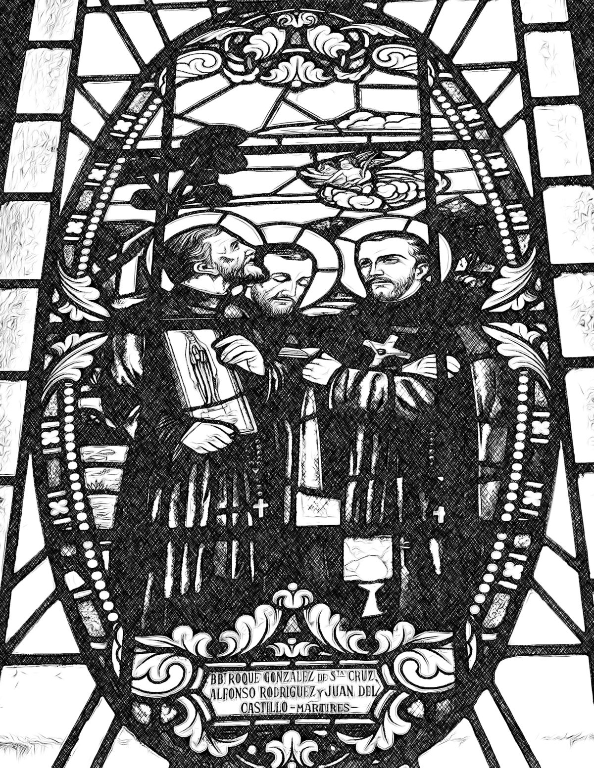 Jesuit Saints Roque Gonzalez, Alfonso Rodriguez, and Juan Del Castillo - Catholic Coloring Page