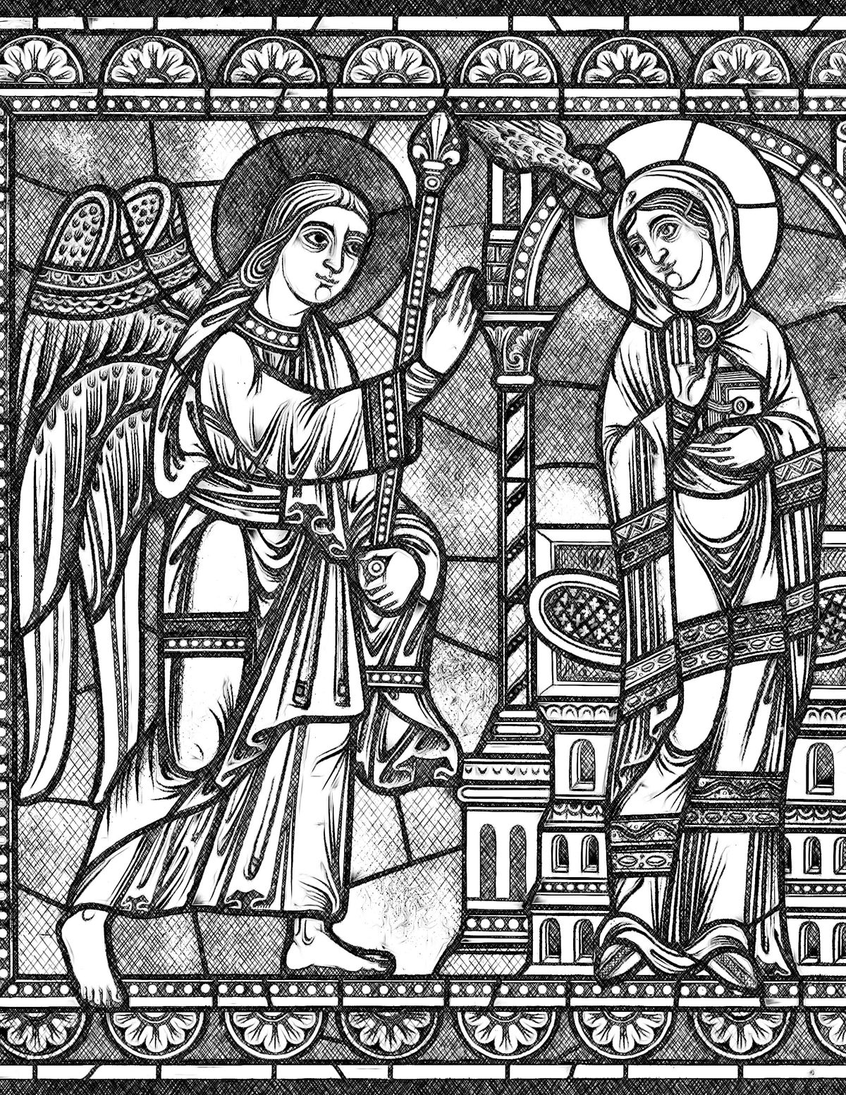 Annunciation - Bible Coloring Page