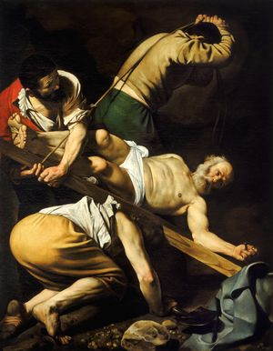 Crucifixion of St. Peter by Caravaggio (17th Century) - Public Domain Catholic Painting
