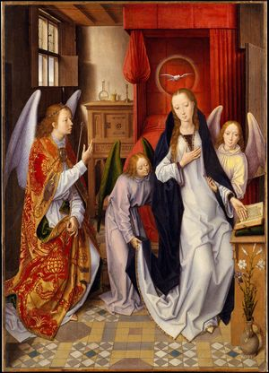 Annunciation by Hans Memling (1480) - Public Domain Catholic Painting