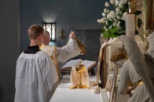 Priest Incensing Altar -Catholic Stock Photo