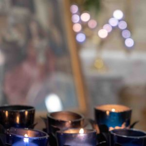 Candles and Altar - Catholic Stock Photo
