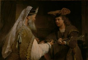 Ahimelech Giving the Sword of Goliath to David by Aert de Gelder (1680s) - Public Domain Bible Painting