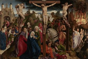 The Crucifixion by Dreux Bude Master (1450) - Public Domain Catholic Painting