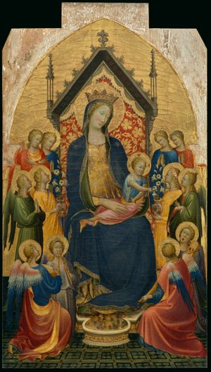 Madonna and Child Jesus with Musical Angels by Gherardo Starnina (1410) - Public Domain Catholic Painting