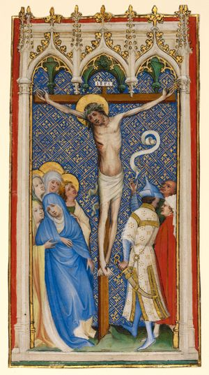 The Crucifixion by Master of St. Veronica (1400-1410) - Public Domain Bible Painting