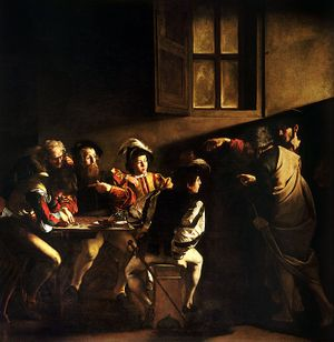 The Calling of Saint Matthew by Caravaggio (1599-1600) - Public Domain Bible Painting