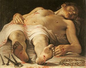 Corpse of Christ by Annibale Carracci (1583–1585) - Public Domain Catholic Painting