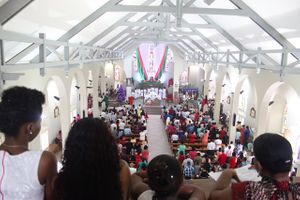 Christmas Mass at the Immaculate Conception Cathedral in Seychelles - Catholic Stock Photo
