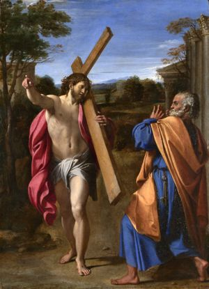 Christ appearing to Saint Peter on the Appian Way by Annibale Carracci (1602) - Public Domain Catholic Painting