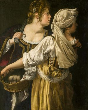 Judith and her Maidservant by Artemisia Gentileschi (1613-1614) - Public Domain Bible Painting