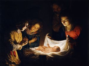 Adoration of the Christ Child by Gerard Honthorst (1619-1621) - Public Domain Bible Painting