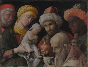 Adoration of the Magi by Andrea Mantegna (1495) - Public Domain Bible Painting