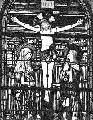 Crucifixion with the Virgin Mary and John the Apostle - Catholic Coloring Page