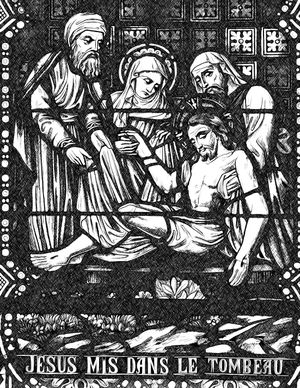Jesus Laid in the Sepulcher - Bible Coloring Page
