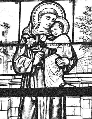 Saint Anthony of Padua with Infant Jesus - Catholic Coloring Page