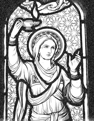 Virgin with Lamp - Catholic Coloring Page
