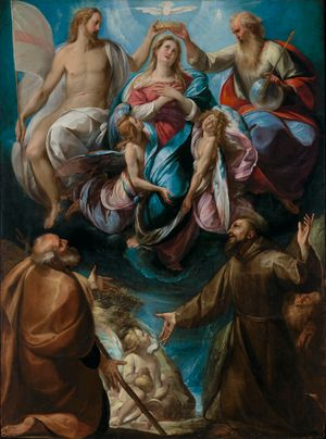 The Coronation of the Virgin with Saints Joseph and Francis by Giulio Cesare Procaccini (1605) - Public Domain Catholic Painting