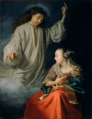 The Annunciation by Godfried Schalcken (1660-1665) - Public Domain Bible Painting