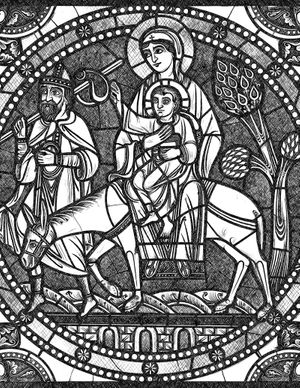 Flight Into Egypt - Bible Coloring Page