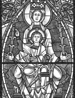 Queen of Heaven with Child Jesus - Catholic Coloring Page
