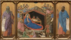 The Nativity with the Prophets Isaiah and Ezekiel by Duccio di Buoninsegna (1308-1311) - Public Domain Bible Painting