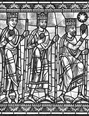 Wise Men Bringing Gifts to Christ - Bible Coloring Page
