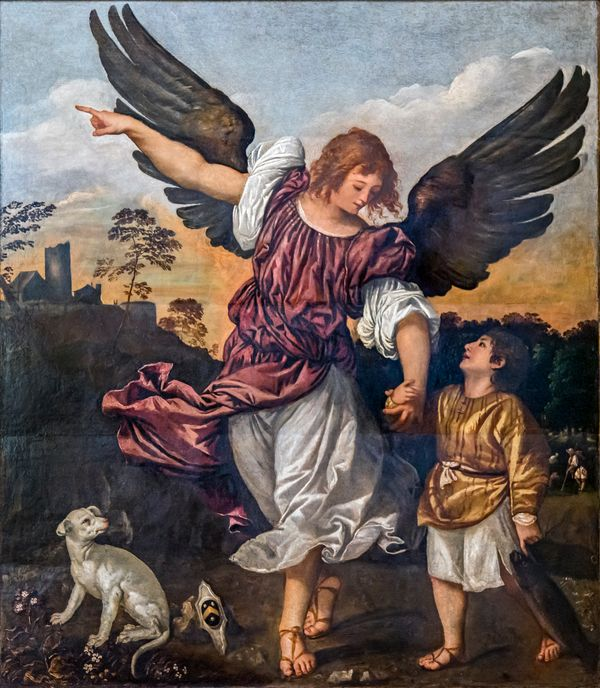 Raphael and Tobit by Titian - Public Domain Catholic Painting