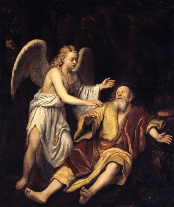 Elijah and the Angel by Godfrey Kneller (17th Century) - Public Domain Catholic Painting