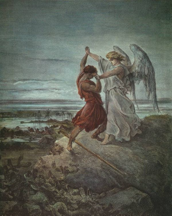 Jacob Wresting with the Angel - Public Domain Catholic Painting