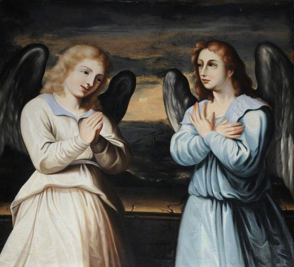 Two Praying Angels by Jacopo Palma il Giovane (16th Century) - Public Domain Catholic Paintings
