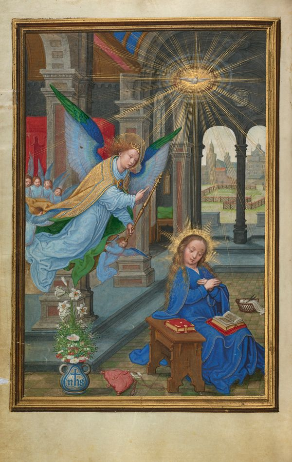 The Annunciation by Simon Bening (16th Century) - Public Domain Catholic Painting