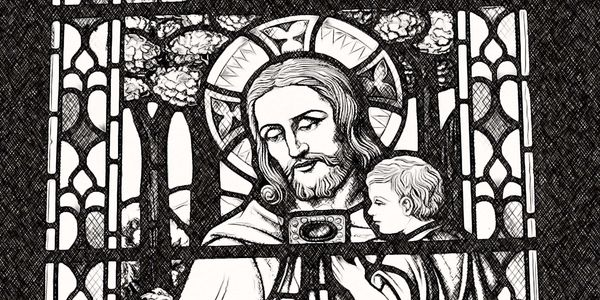 Jesus with Children - Catholic Coloring Page
