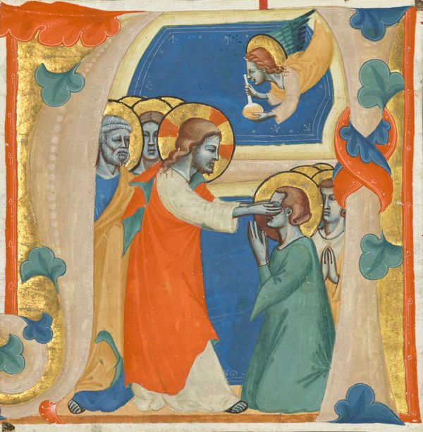 Jesus Healing the Blind Man (14th Century) - Public Domain Catholic Painting