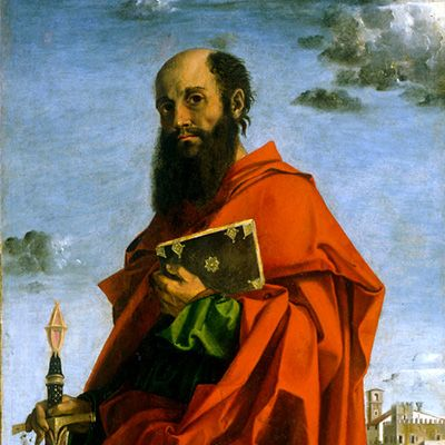 Saint Paul by Bartolomeo Montagna (16th Century) - Public Domain Catholic Painting
