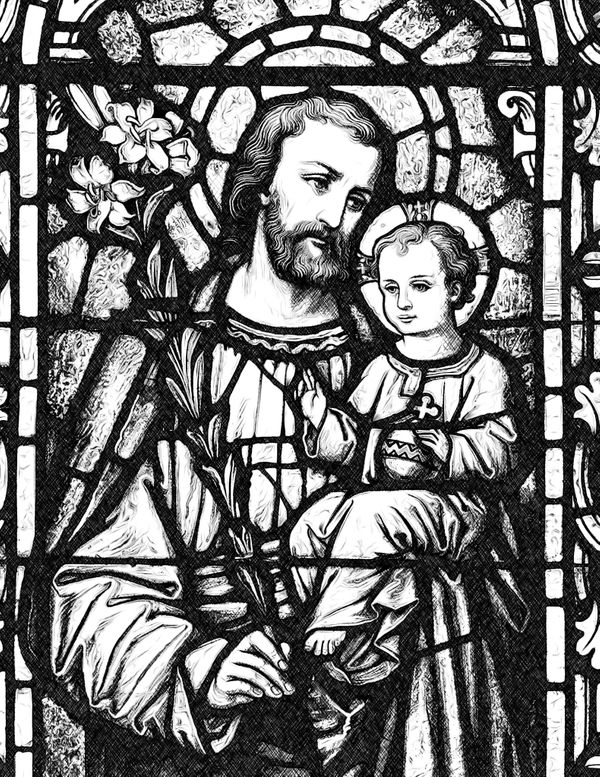 Saint Joseph with Child Jesus - Catholic Coloring Page