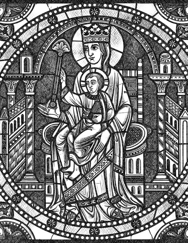Madonna and Child Jesus - Catholic Coloring Page
