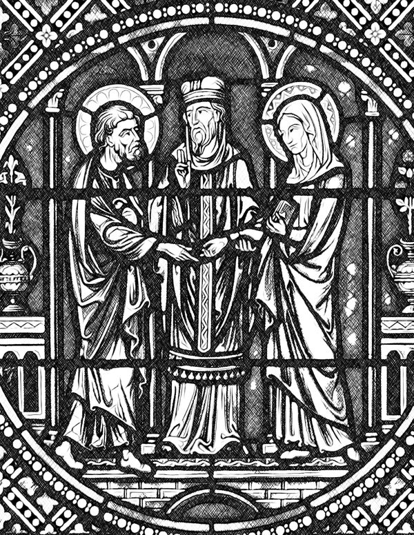 Marriage of Saint Joseph and the Virgin Mary - Catholic Coloring Page