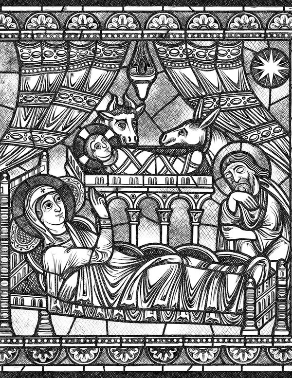 Nativity - Bible Coloring Page