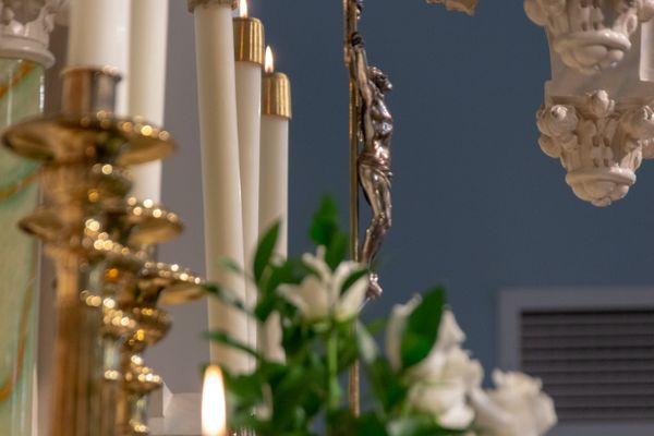 Altar Candles and Crucifix - Catholic Stock Photo